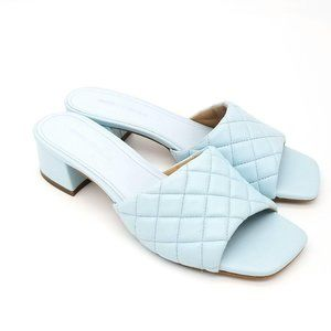 MARC FISHER Quilted Tiffany Blue Leather Sandals O